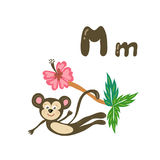 Vector cartoon animal with alphabet letter. Vector cartoon zoo alphabet letter. ABC animals: M is for monkey. Baby kid preschool study print design with smile Royalty Free Stock Images