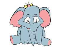 Vector cartoon animal. Sweet little elephant. Royalty Free Stock Images