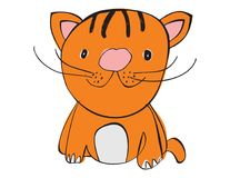 Vector cartoon animal. Sweet little tiger cat. Stock Photography