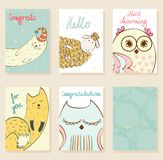 Vector cartoon animals. Collection of cute artistic cards for kids. Funny animals in vector Royalty Free Stock Photography