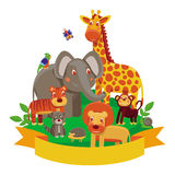 Vector cartoon animals - zoo Stock Images