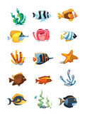 Vector cartoon aquarium decor objects, underwater assets for mobile phone game Stock Image