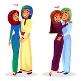 Vector cartoon arab muslim couples hugging. Vector cartoon arab couples hugging expressing love, togetherness set. Happy muslim men, khaliji women in hijab stock illustration