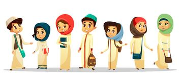 Vector cartoon arab muslim students in hijab set. Vector cartoon arab young teen men, women student standing with shoulder bag holding books smiling. Muslim Royalty Free Stock Image