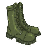 Vector Cartoon Army Boots. High Military Shoes. Vector Cartoon Khaki Army Boots. High Military Shoes Stock Images