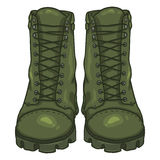 Vector Cartoon Army Boots. High Military Shoes Stock Photos