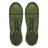 Vector Cartoon Army Boots. High Military Shoes Stock Photography
