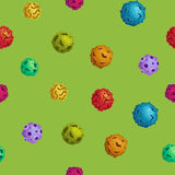 Vector cartoon asteroids seamless background in flat style Stock Images