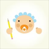 Vector cartoon baby beginner artist Royalty Free Stock Photography