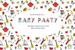 Vector cartoon baby party invitation.Pattern template with children cartoon stock illustration