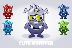 Vector Cartoon baby three-eyed monster in different colors, funny character set royalty free illustration