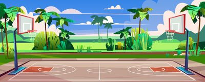 Vector street basketball court with green palms royalty free illustration