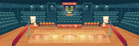 Vector cartoon background of empty basketball court. Interior of sports arena with spotlights, seats and place for sports game. Playground for competition vector illustration