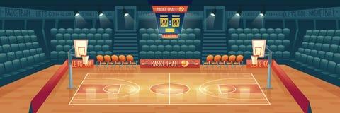 Vector cartoon background of empty basketball court