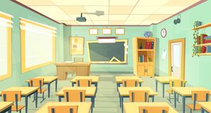 Vector cartoon illustration of school classroom
