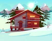 Vector cartoon luxury hotel, chalet. Winter resort. Vector cartoon background with a luxury hotel in snowy mountains, green forest. Wooden living apartment royalty free illustration