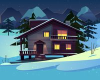 Vector cartoon luxury hotel, chalet at night. Vector cartoon background with a luxury hotel in snowy mountains at night. Wooden living apartment, dark chalet of vector illustration