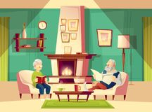 Vector cartoon old man and woman in living room. Vector cartoon background with old man and woman, who sit in armchairs near fireplace, rest, read book and Royalty Free Stock Photo
