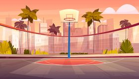 Vector cartoon background of street basketball court. Vector cartoon background of basketball court in tropic city. Outdoor sports arena with basket for game stock illustration