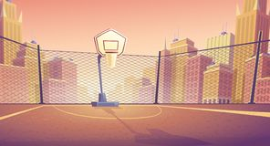 Vector cartoon background of street basketball court. Vector cartoon background of basketball court in city. Outdoor sports arena with basket for game. Street royalty free illustration
