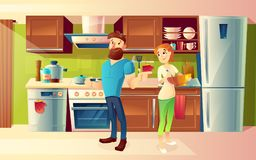 Vector cartoon happy couple in a modern kitchen. Vector cartoon background with young happy married couple, smiling man and woman cooking food together in cozy Stock Photography