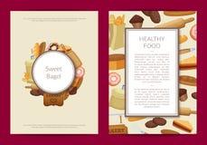 Vector cartoon bakery card or flyer template illustration royalty free illustration