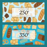 Vector cartoon bakery elements discount or gift voucher templates illustration. Banner with price present vector illustration