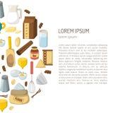 Vector cartoon baking ingredients background Stock Photo