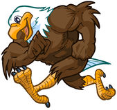 Vector Cartoon Bald Eagle Mascot Running. Vector cartoon clip art illustration side view of a tough but friendly and cute bald eagle mascot running royalty free illustration