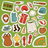 Vector cartoon baseball game player clothes uniform ball, glove and object baseball icons game team symbol softball play. Sport game design sport equipment stock illustration