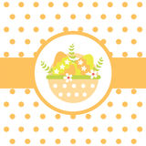 Vector cartoon of a basket of colorful egg on polka dot background Stock Images