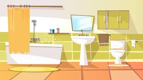 Vector cartoon bathroom interior background. Template. Modern home, hotel apartment lavatory, restroom. Illustration with ceramic furniture bathtub, faucet Stock Photos