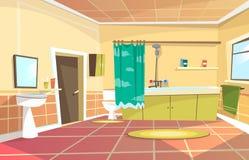 Vector cartoon bathroom interior background. Template. Modern home, hotel apartment lavatory, restroom. Illustration ceramic furniture bathtub faucet toilet Stock Photo