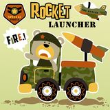 Battlefield. Vector cartoon of bear army with armored vehicle. EPS 10 Stock Image