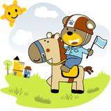 Riding sports. Vector cartoon of Bear riding a cute horse. EPS 10 Royalty Free Stock Image