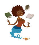 Vector Cartoon beautiful teacher gin from the magic lamp on a white background. Set of fairy tale characters. Teacher-gin in glasses and books. Cartoon cute Stock Photo