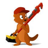 Vector cartoon beaver plumber with wrench Royalty Free Stock Images