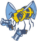 Vector Cartoon Bee with Two Pistols. Vector cartoon clip art illustration of a wasp or bee brandishing two pistols or guns royalty free illustration