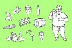 Vector cartoon beer symbols icon monochrome set. Vector cartoon beer symbols icon monohcrome set. Obese man holding mug of golden lager cool beer with thick foam Stock Photography