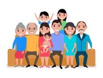 Vector cartoon big happy family on the sofa Stock Images