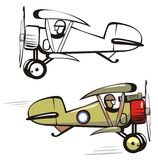 Vector cartoon biplane Stock Images