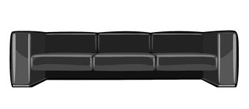 Vector cartoon black couch isolated on white Stock Images