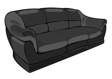 Vector cartoon black couch isolated on white Stock Photography