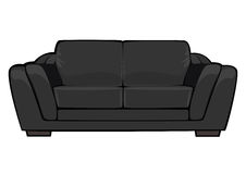 Vector cartoon black couch isolated on white Royalty Free Stock Image