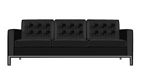 Vector cartoon black couch isolated on white Stock Photos