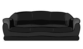 vector cartoon black couch isolated on white stock illustration