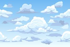 Vector cartoon blue cloudy sky horizontal seamless pattern Royalty Free Stock Photography