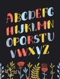 Vector cartoon Boho colorful alphabet. Vector ethnic letters and arrows. Vector cartoon Boho colorful slanted alphabet. Vector ethnic letters and arrows. Cute Stock Images