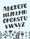 Vector cartoon Boho alphabet. Vector ethnic letters and arrows. Cute and funny ABC uppercase letters royalty free illustration