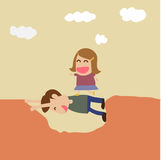 Vector cartoon of boy help girl crossing hole Stock Images
